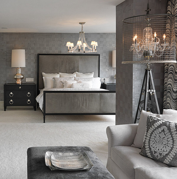 Chandelier lighting in an elegant bedroom