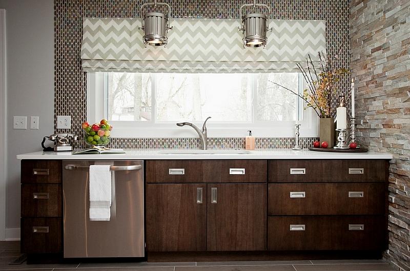 Chevron pattern roman shade in the kitchen