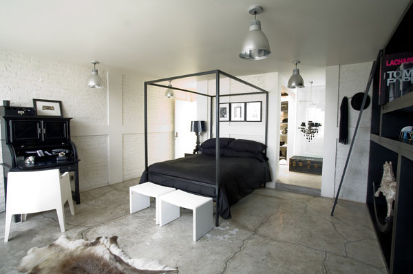 Chic black and white bedroom space