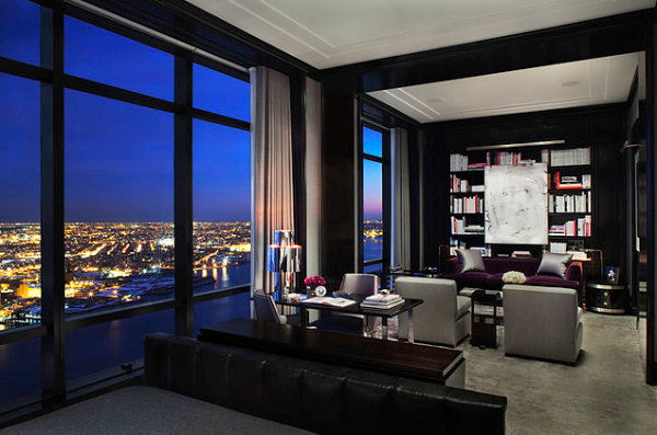 Chic interior with a city view