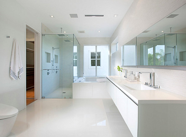 Clear accessories in a minimalist bathroom