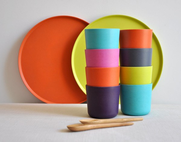 Colorful bamboo dishware