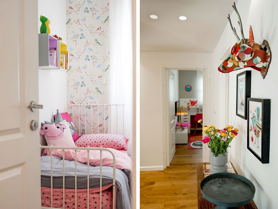 Colorful corner leading to the kids' bedroom