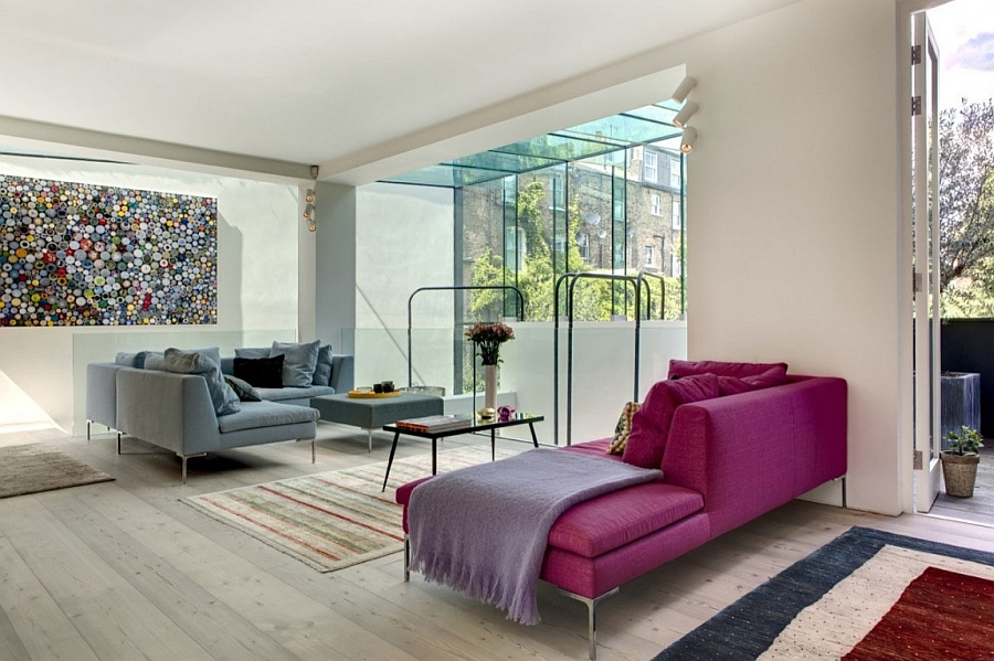 Colorful decor inside the trendy house Classic Victorian House In London Gets A Grand And Glassy Extension!
