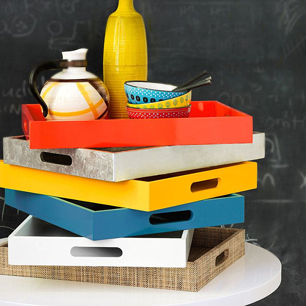 Colorful lacquered trays
