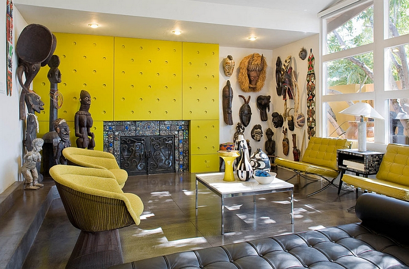 Colorful living room with twin Platner Lounge Chairs in bright yellow