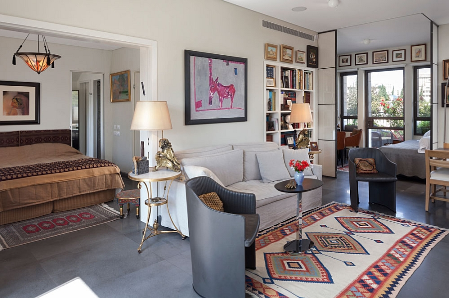 Colorful rugs and wall art enliven the place