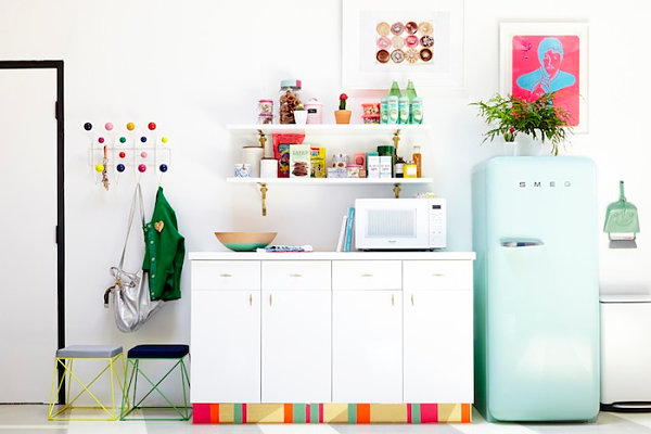 Colorful studio kitchen