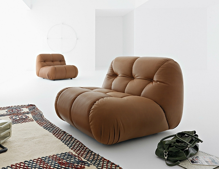 Comfy tufted sofa in cool brown