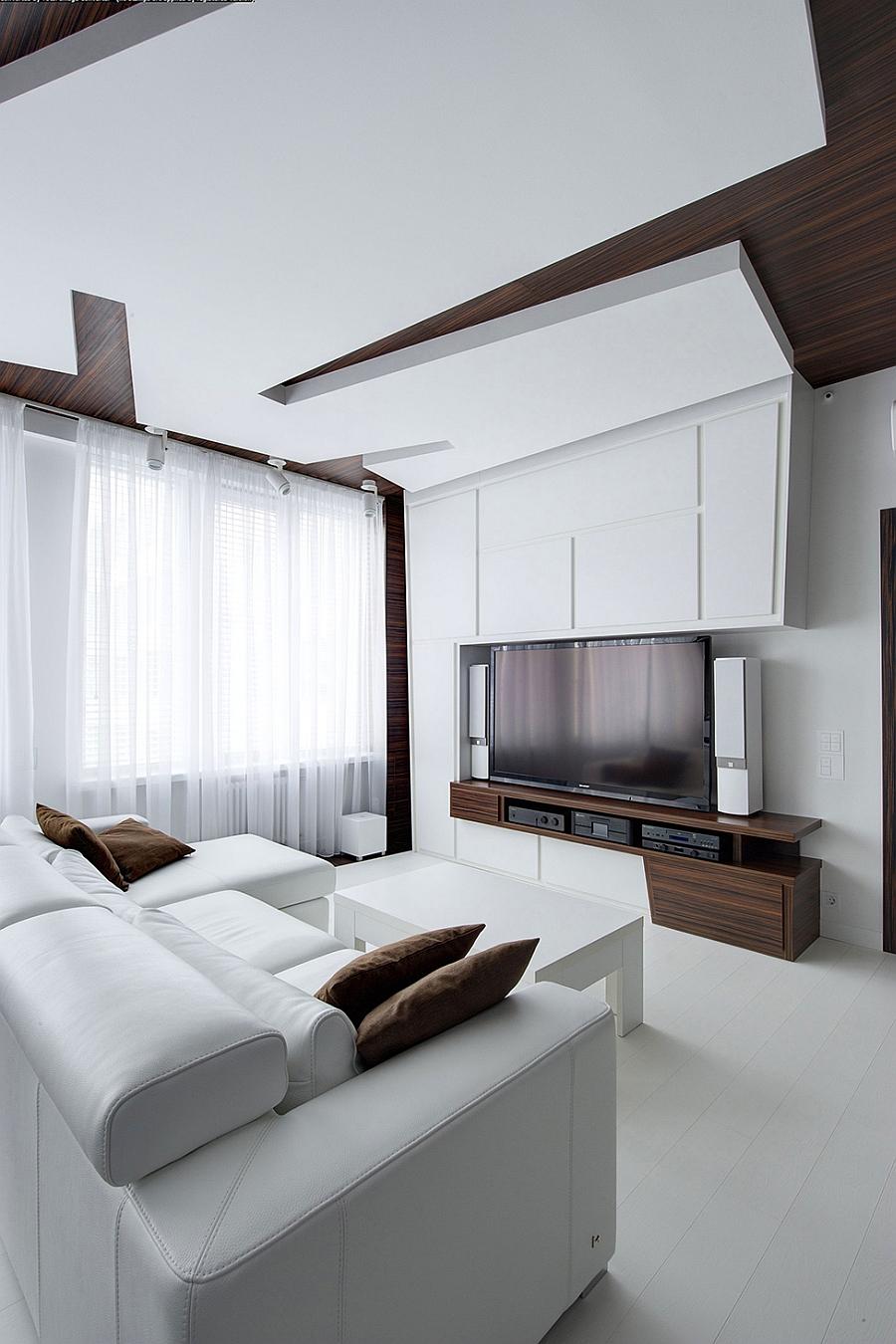 Compact living area with plush sofa