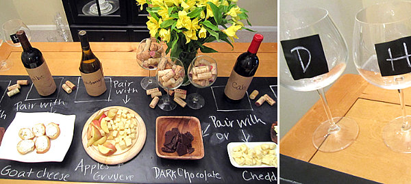 Contact paper embellishments at a wine and cheese party