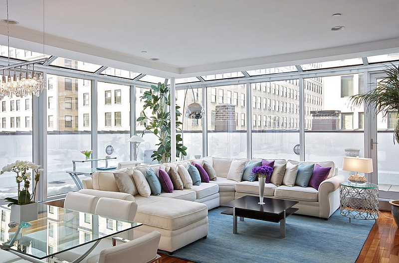 Contemporary NYC apartment living room with pastel rug