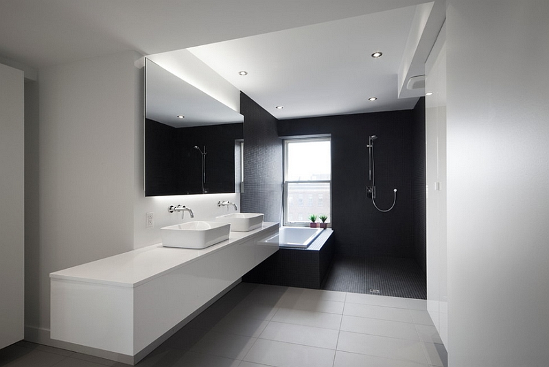Black and white bathrooms design ideas decor and accessories for Monochrome bathroom designs