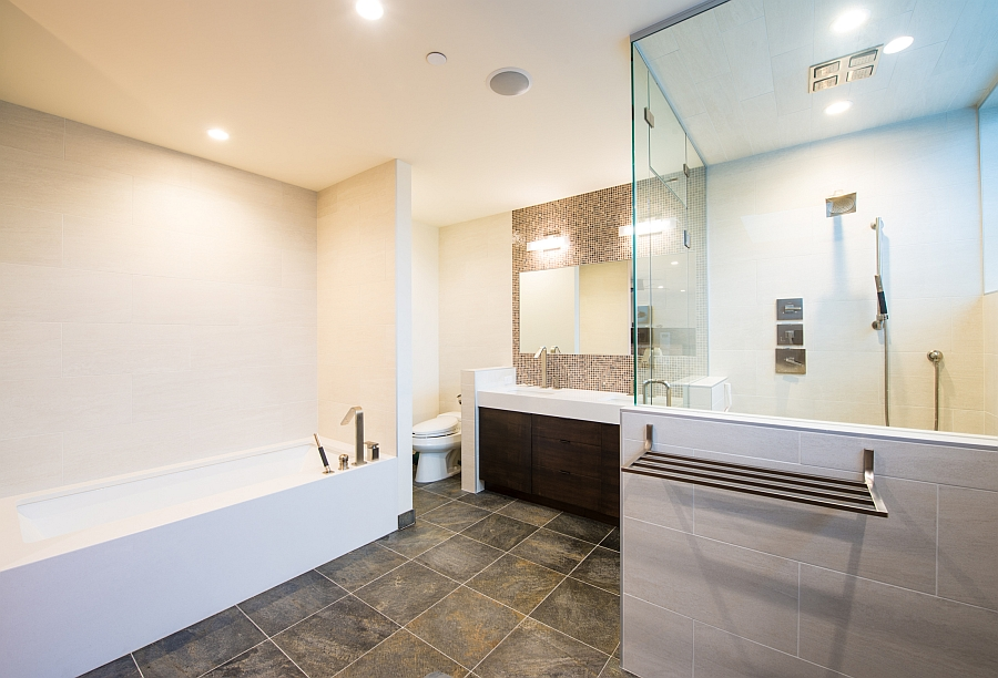 Contemporary bathroom with glass shower enclosure