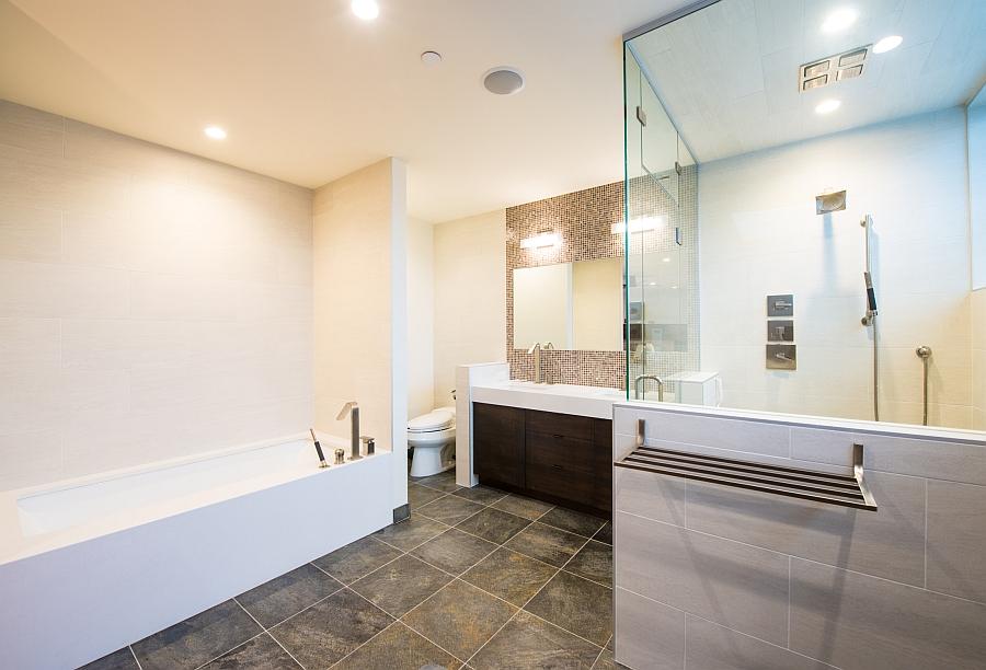Contemporary bathroom with glass shower enclosure