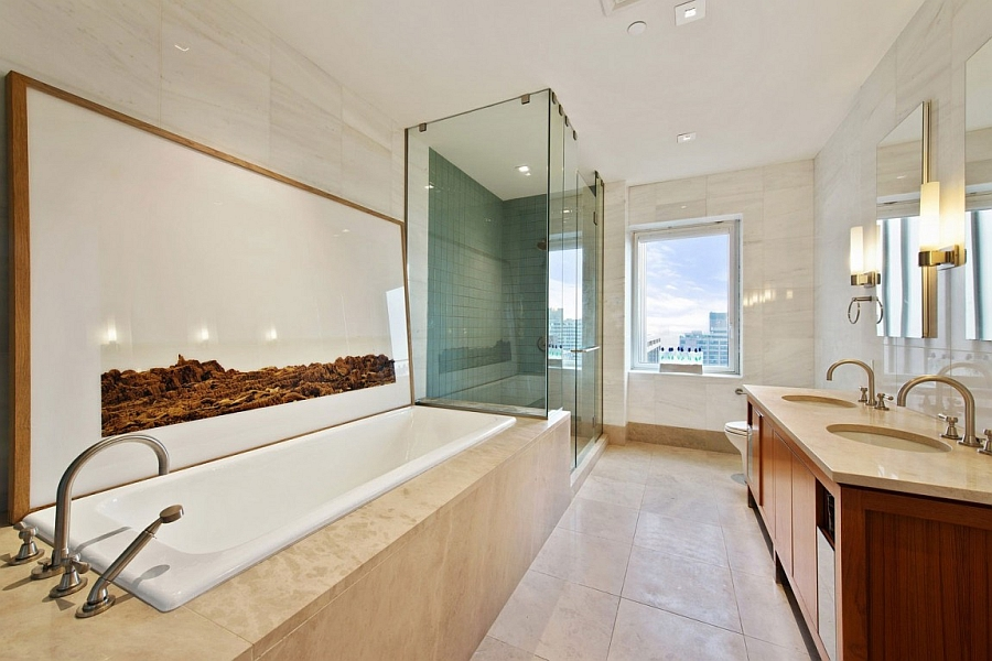 Contemporary bathroom with shower and bathtub