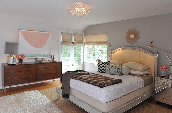 Contemporary bedroom with the Caboche Chandelier