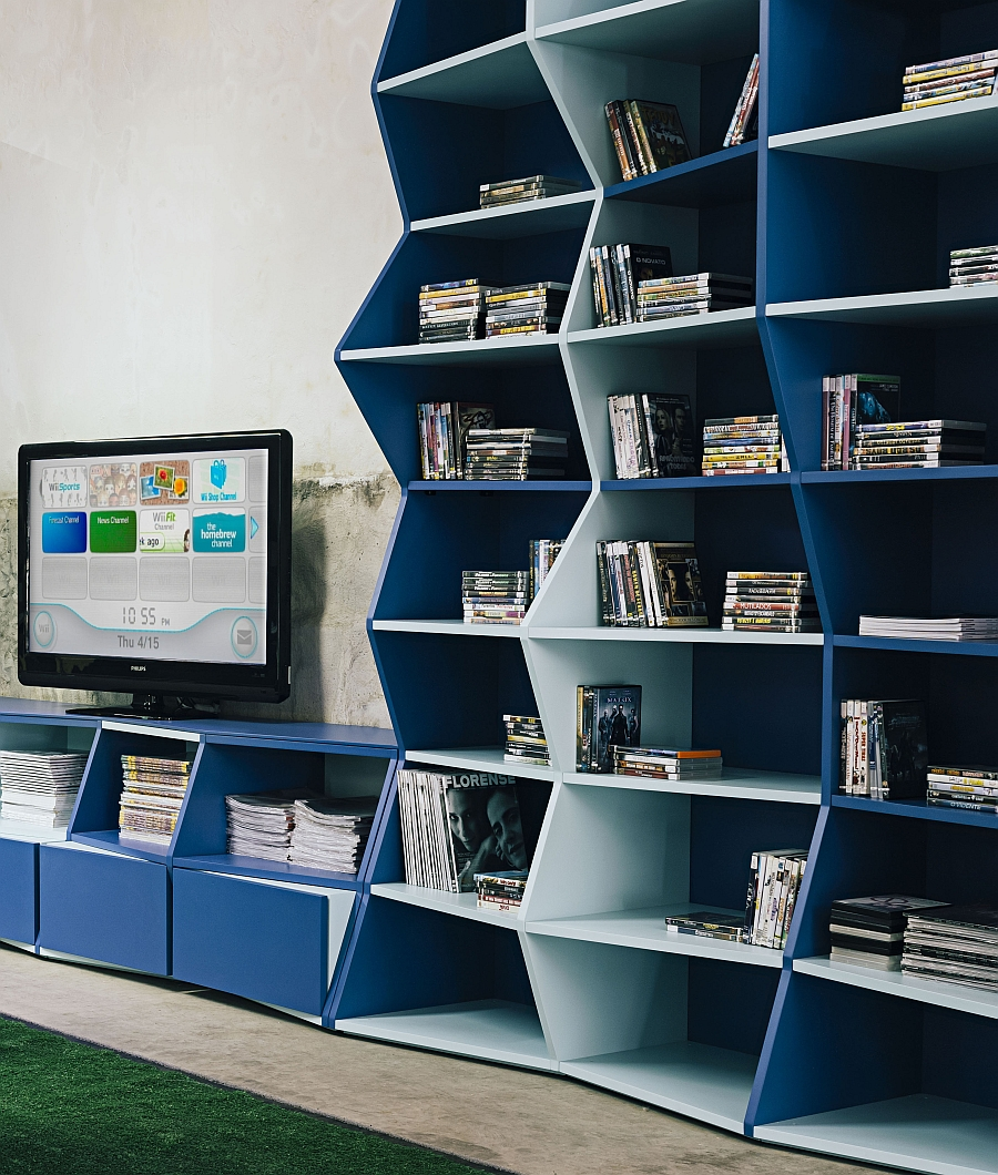 Contemporary bookshelf in blue