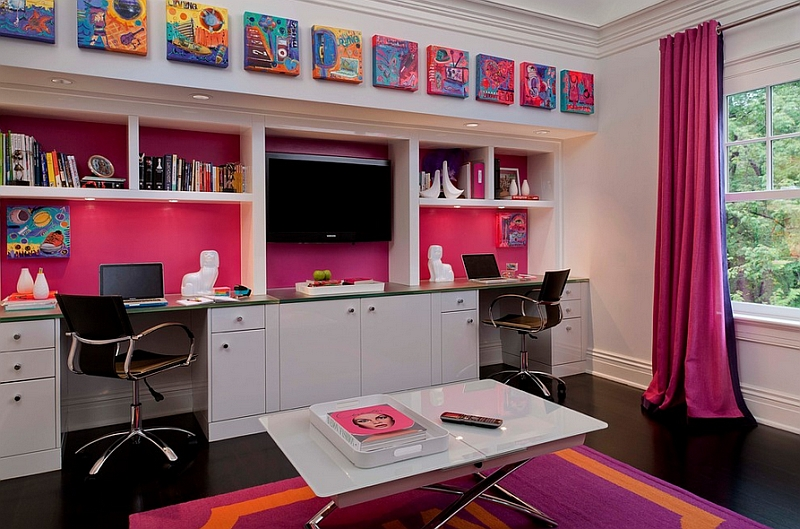 Contemporary kids' room in hot pink