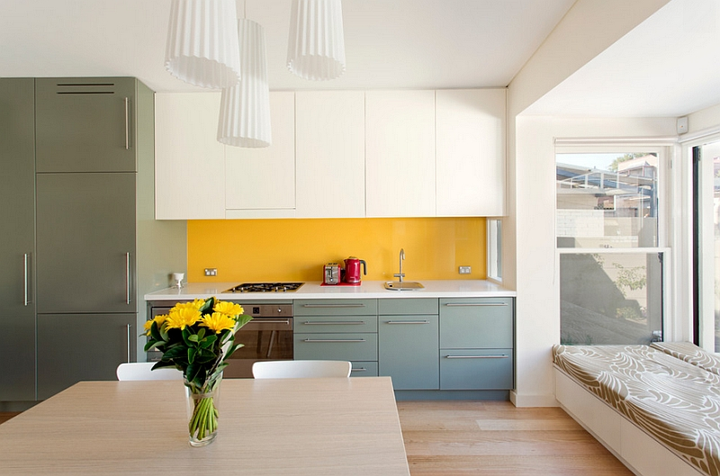 Contemporary kitchen in white, yellow and gray