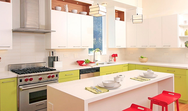 Contemporary kitchens can also assume a colorful look