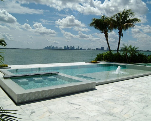 Contemporary pool with a city view