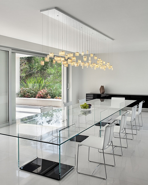 View In Gallery Contours Of The Tulip Chandelier Complement Form Rectangular Dining Table