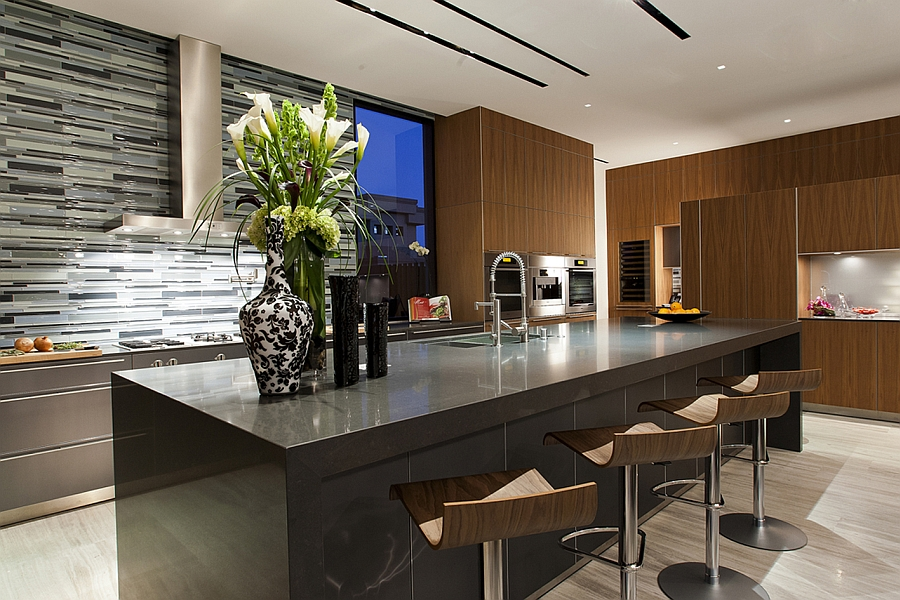 Cool backsplash in the contemporary kitchen