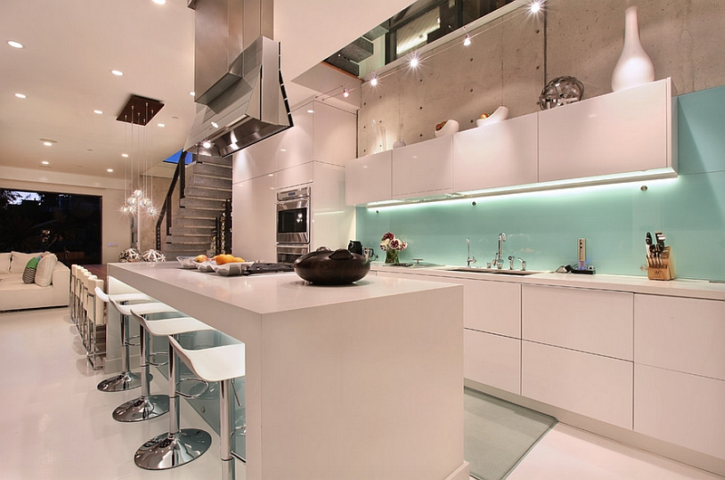 Glass Kitchen Backsplash White Cabinets kitchen backsplash ideas: a splattering of the most popular colors!