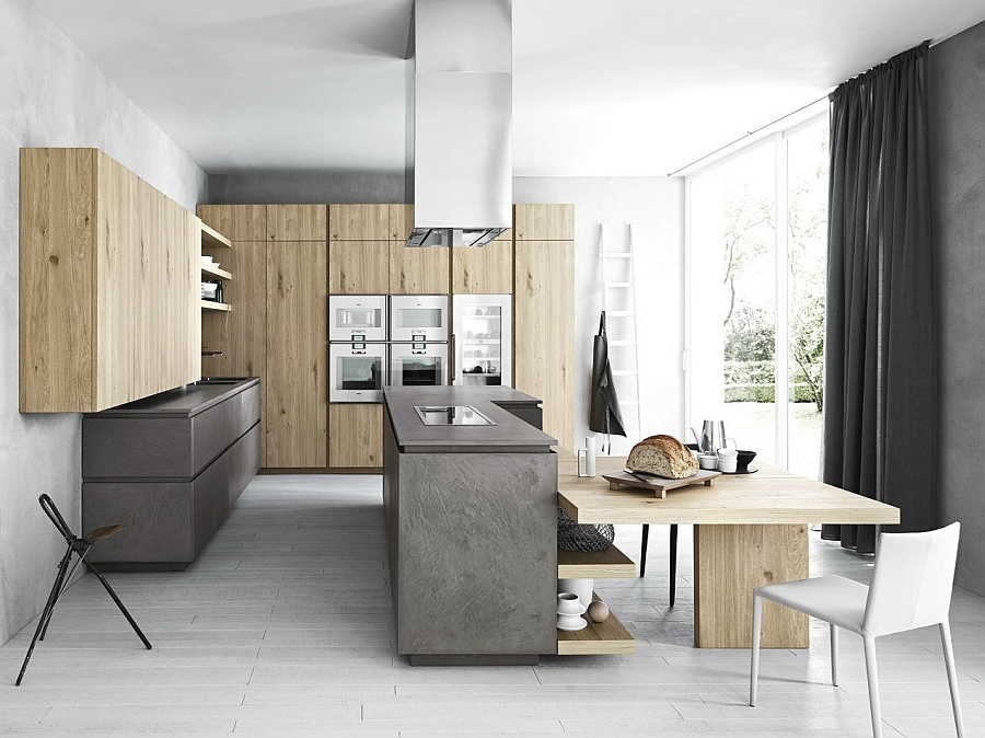 Cool kitchen in eco cement and wood