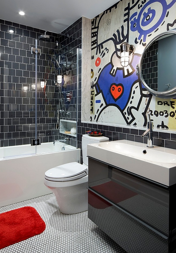 Creative addition to the black and white bathroom