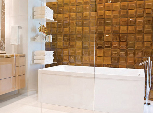 Crisp accessories in a bathroom with amber-toned tile