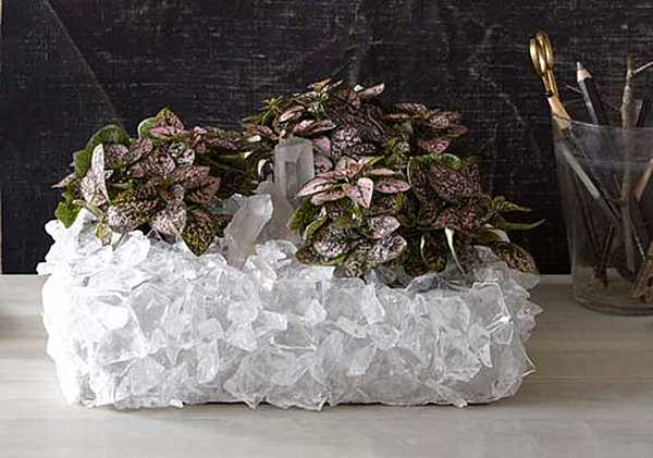 Crystal-covered planter project