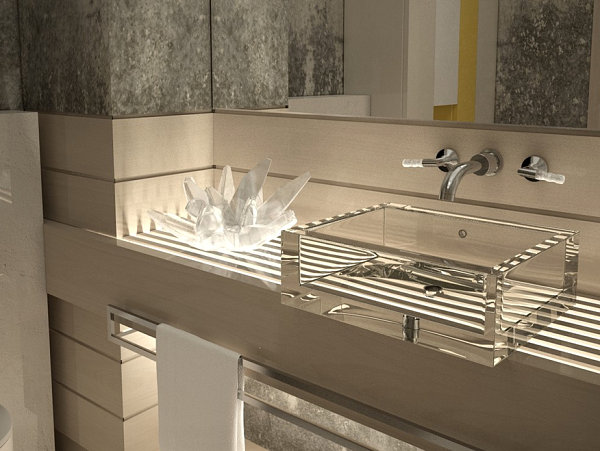 Crystalline accents in a contemporary bathroom