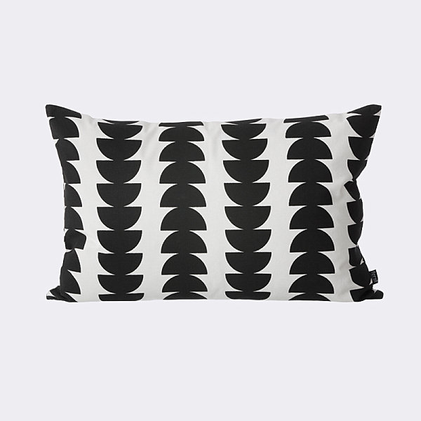 Cushion with black semicircles