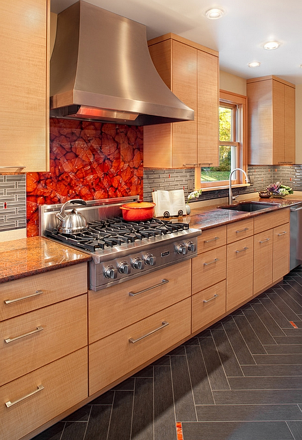 Custom art glass backsplash looks truly amazing