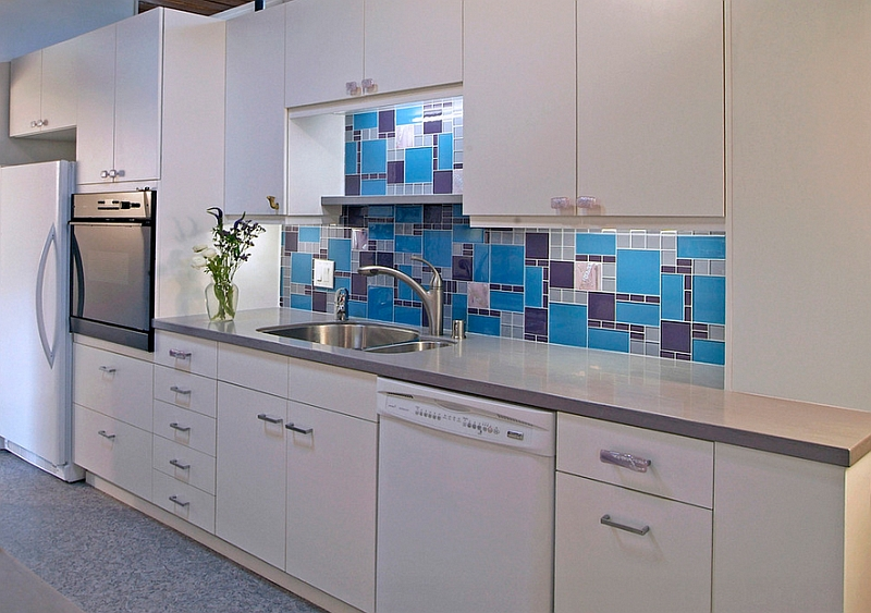 Custom design backsplash for the kitchen with glass tiles