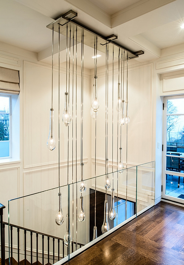 Custom designed cascading chandelier for the entrance