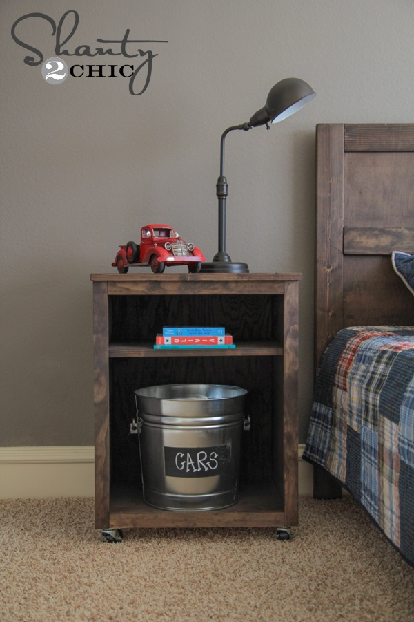 Dark stained DIY nightstand