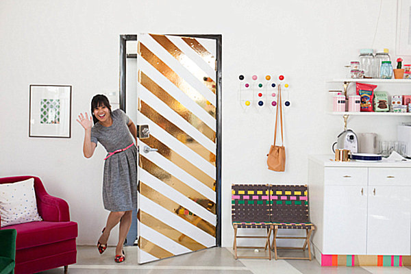 Diagonal stripe contact paper project for your door