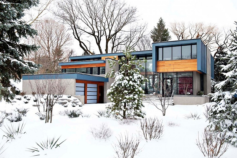 Distinct facade of the Throncrest House in Canadian winter