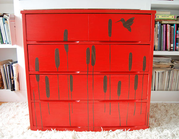Dresser embellished with contact paper
