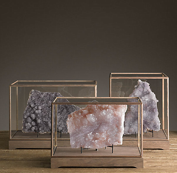 Druzy specimens in display cases from Restoration Hardware
