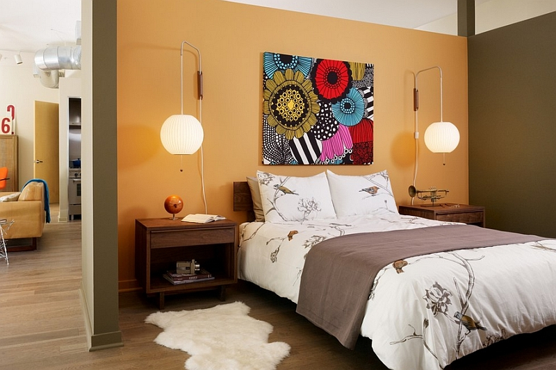 Eclectic Japanese bedroom with a dash of color