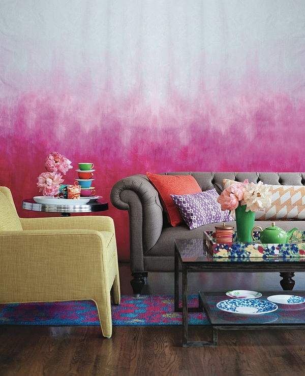 Eclectic living room with Ombre wall