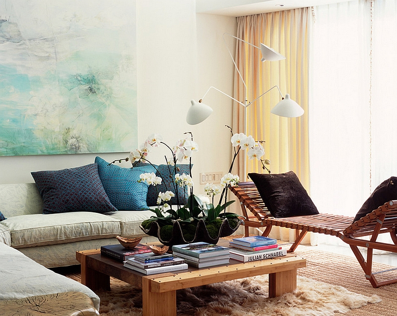Eclectic living room with Serge Mouille floor lamp in white