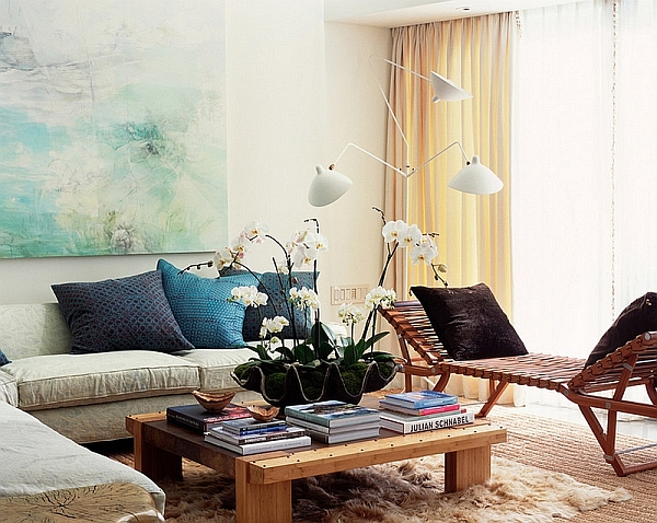 Eclectic living space with Serge Mouille floor lamp
