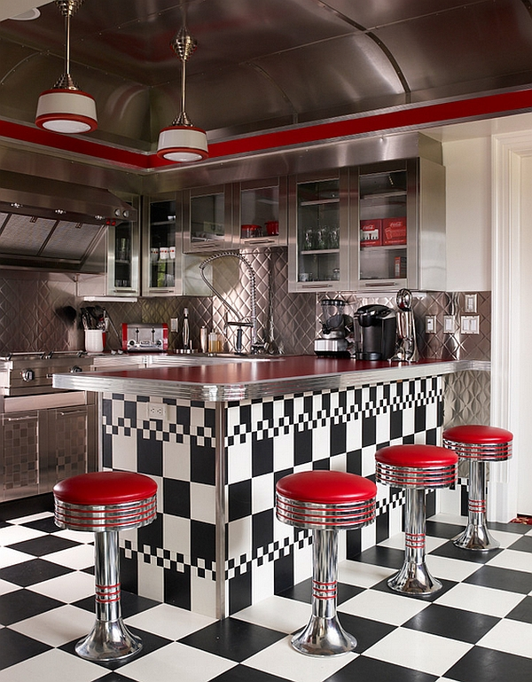Eclectic retro kitchen with blacka nd white tiles