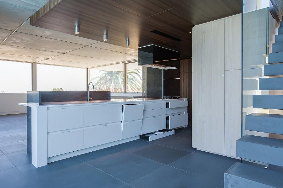 Elaborate kitchen island with ample storage