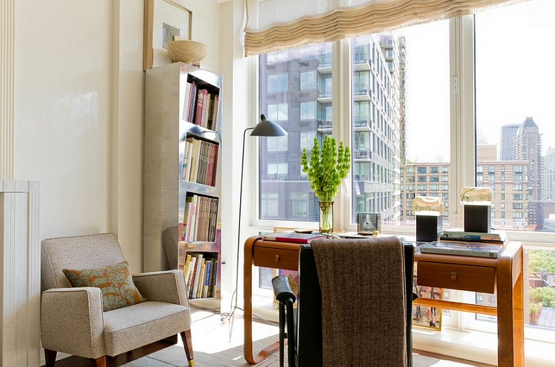 Elegant and sleek floor lamp in the transitional home office
